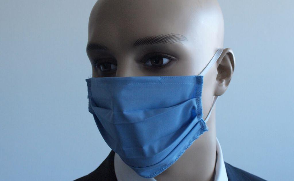 Mund- und Nasenmaske - textil / blau mit Filteroption